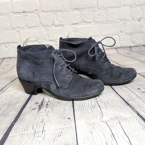 Clarks Gray Suede Leather Lace Up Heeled Booties